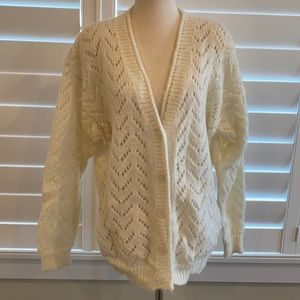 Granny style mohair v neck button sweater sz M